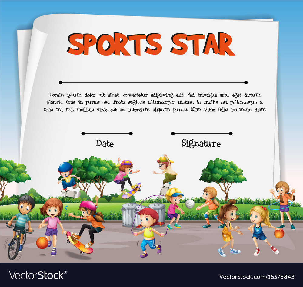 Sports Star Certificate Template With Kids Vector Image