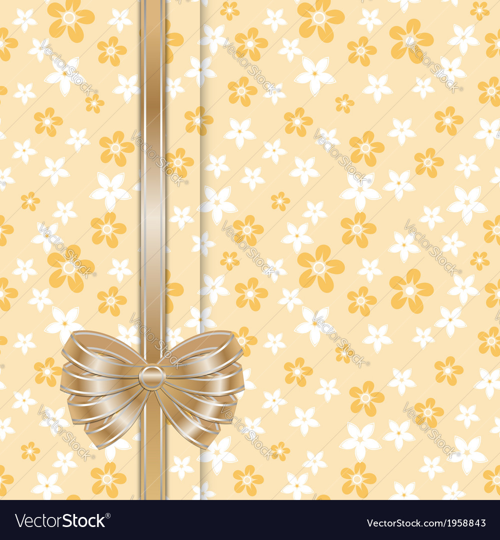 Spring card template with bow gold