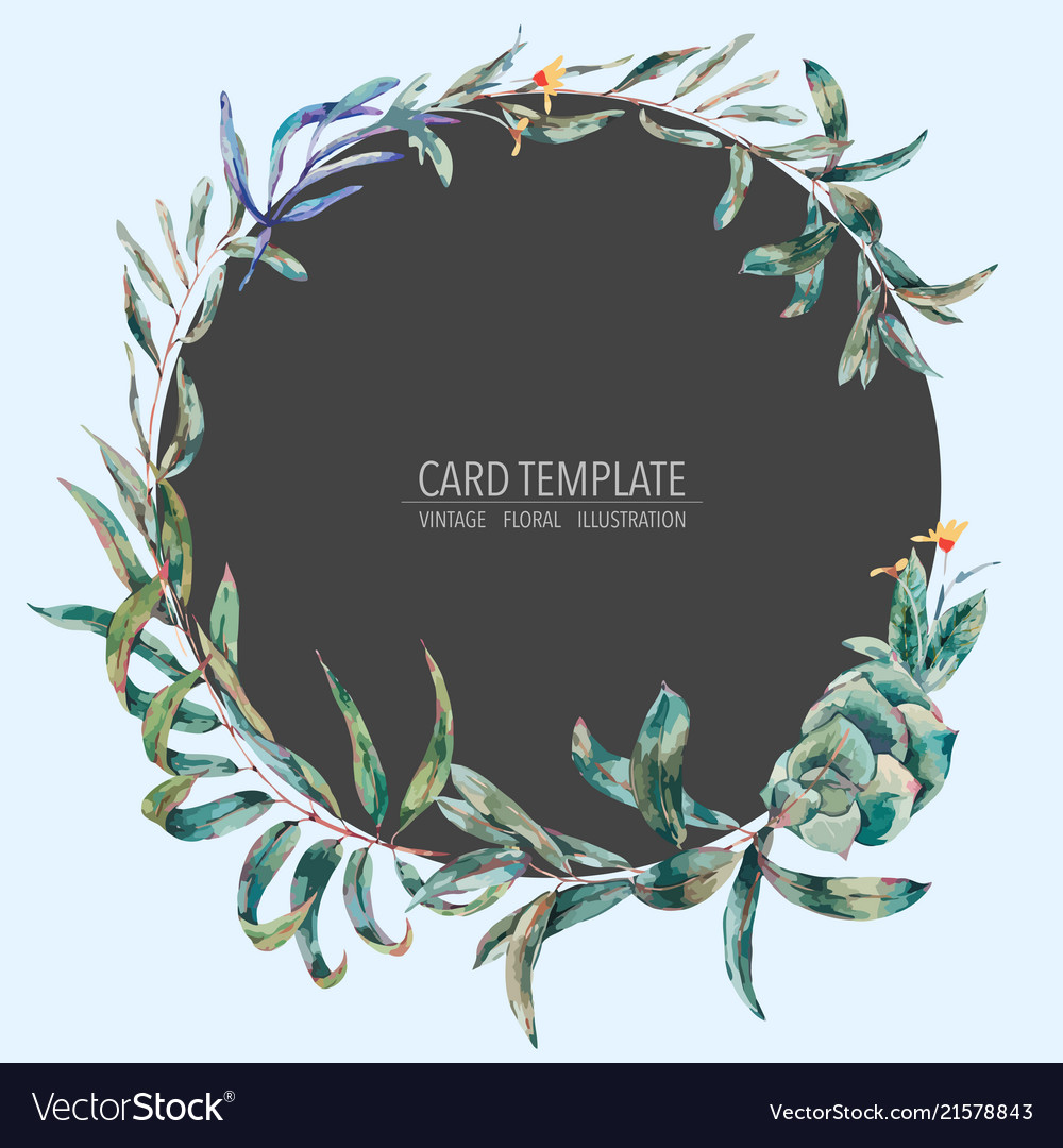 Template card of green tropical leaves