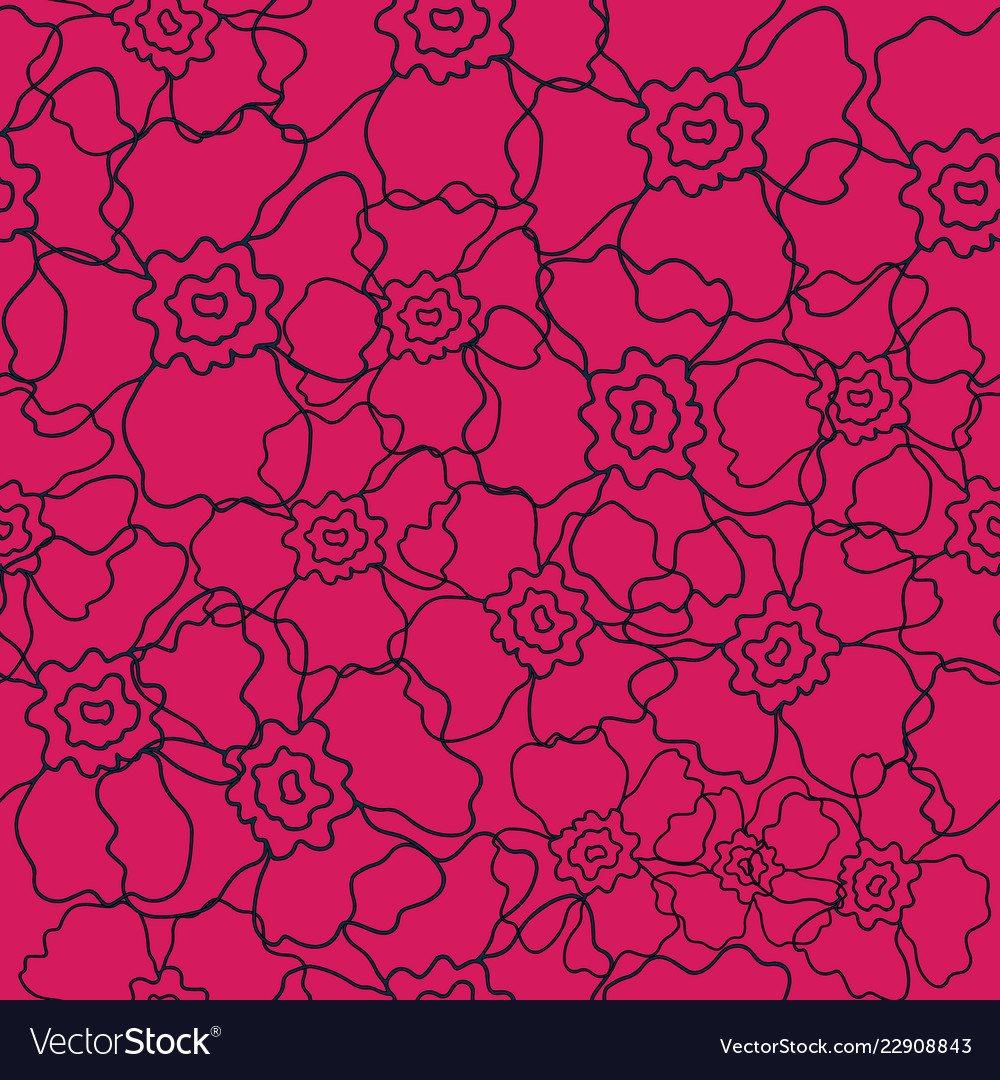 Vibrant pink floral line art pattern