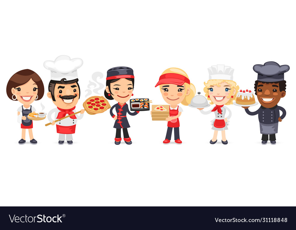 Cartoon catering professionals workers
