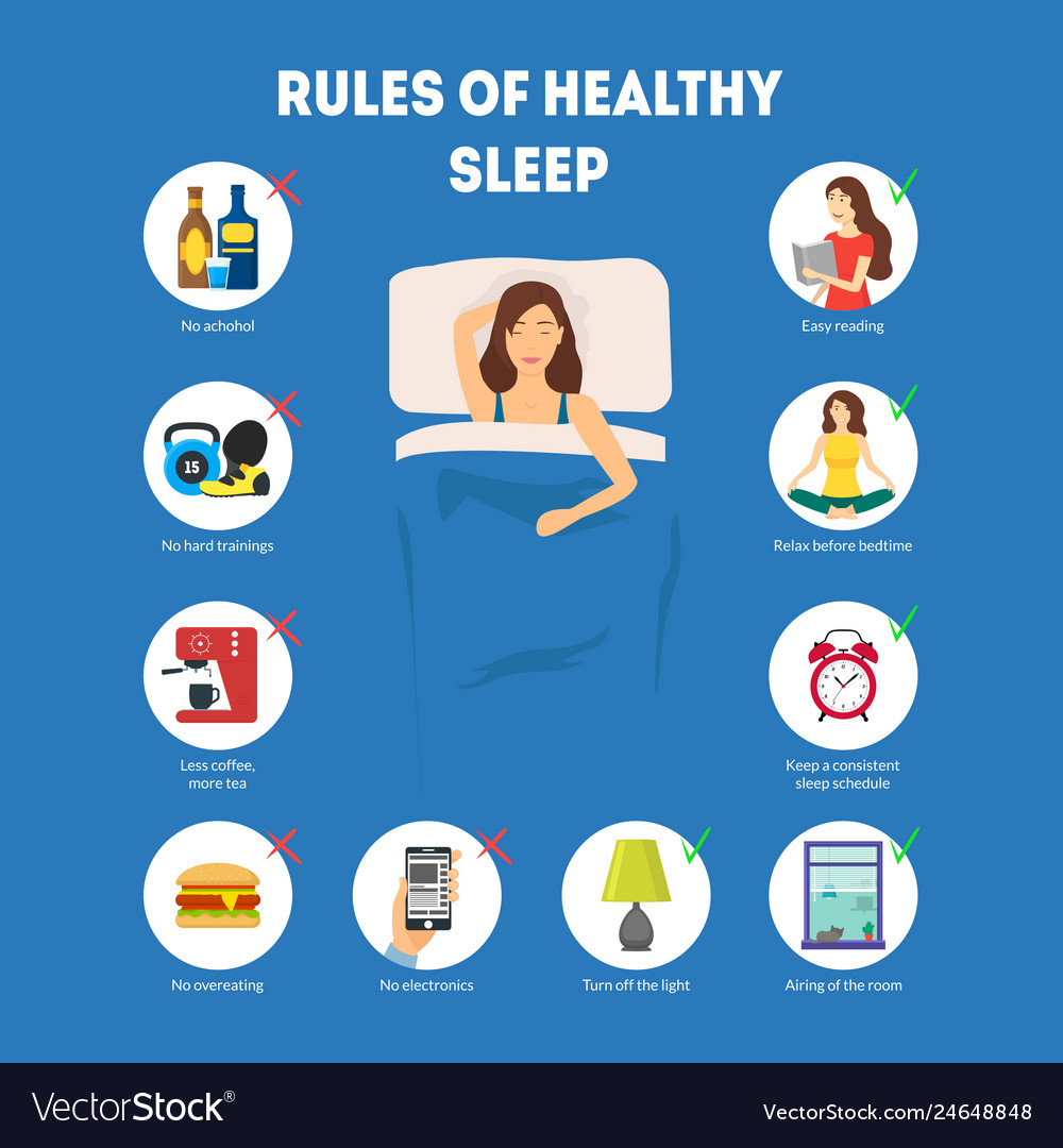 Cartoon rules of healthy sleep infographics Vector Image