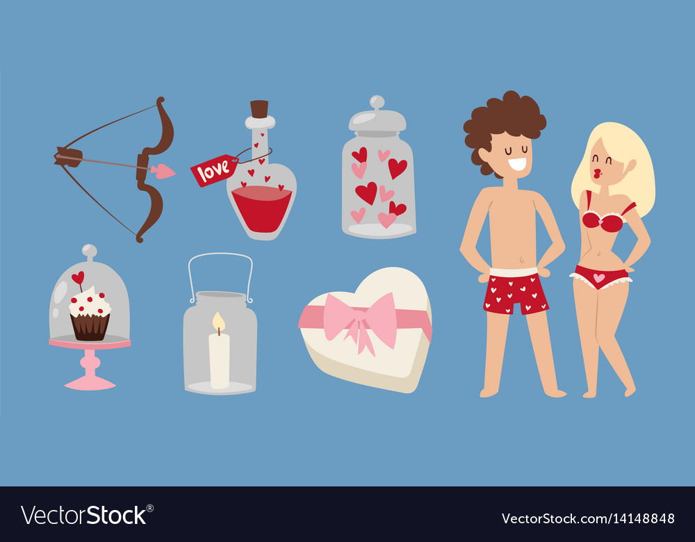 Cartoon Young Lovers Couple Valentine Day Signs Vector Image