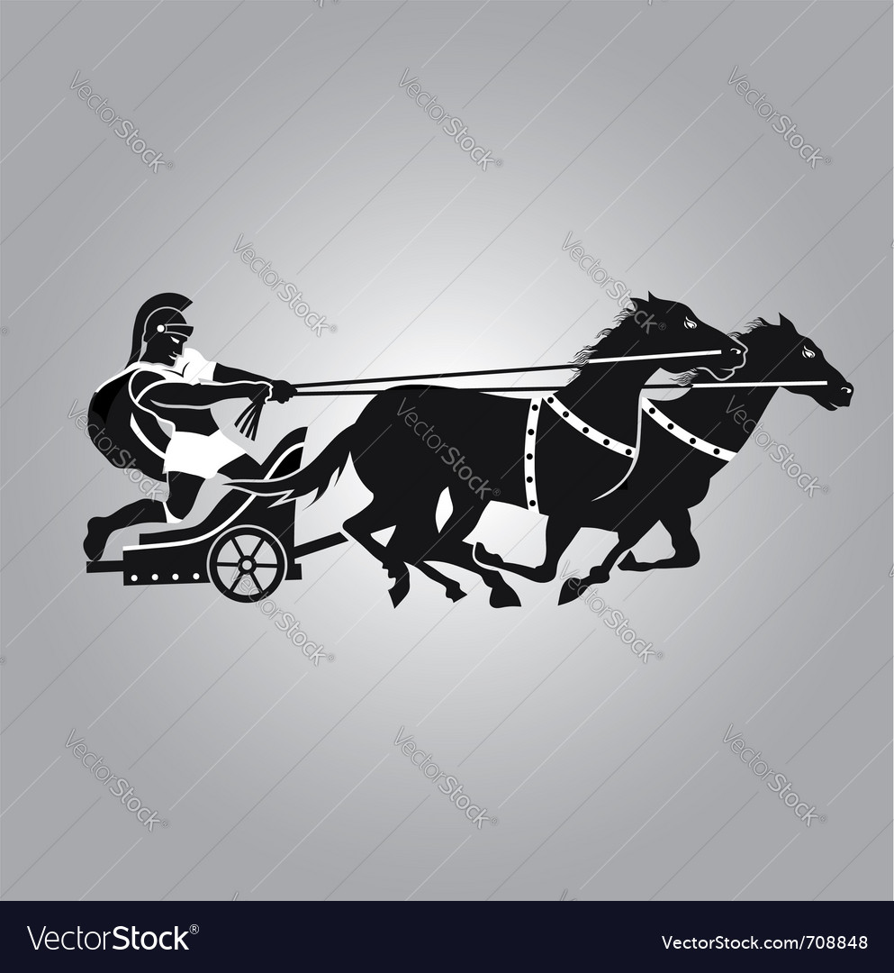 Chariot with horses vector image