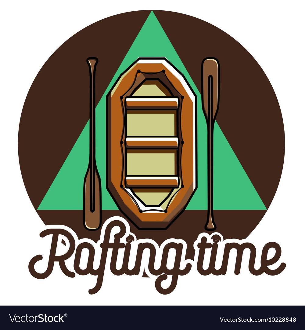 Color vintage rafting emblem vector image