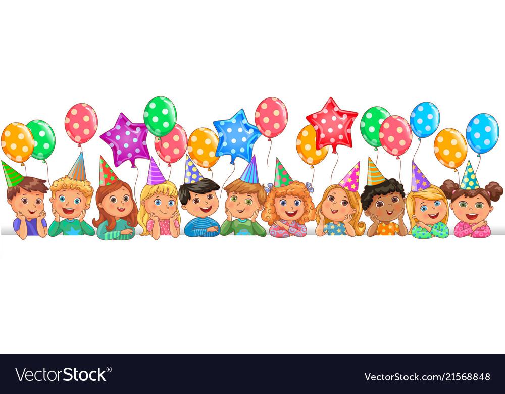 Cute children faces birthday