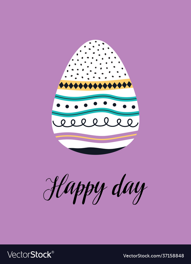 Cute easter card with egg isolated