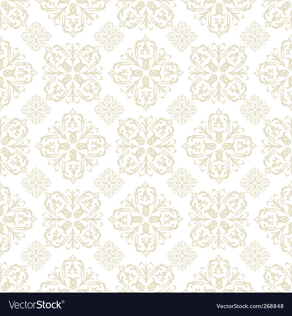 Floral Wallpaper Beige Tile Royalty Free Vector Image