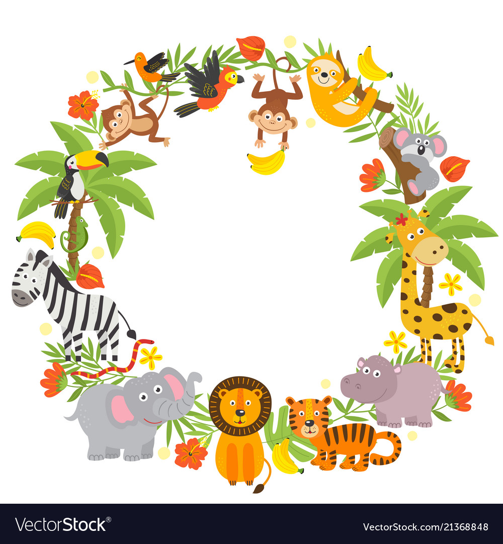 Frame with jungle animals