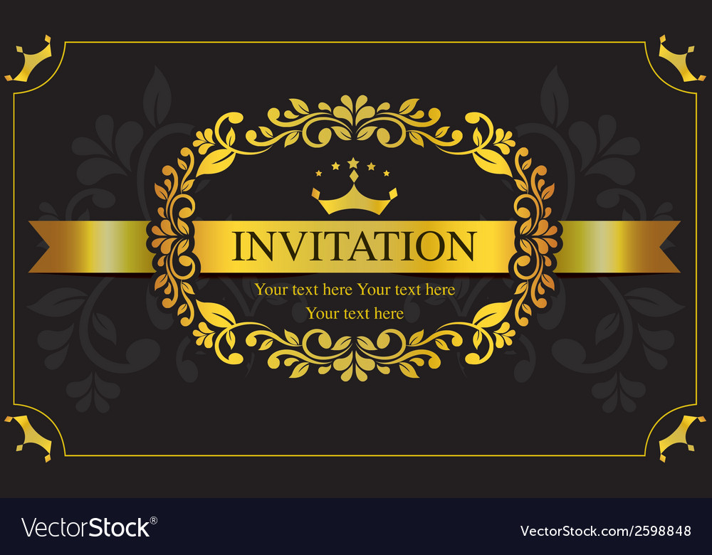 Invitation card black and gold style