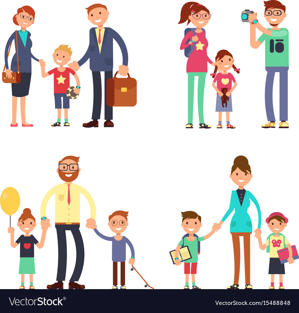 Kids and parents in happy family mom dad and