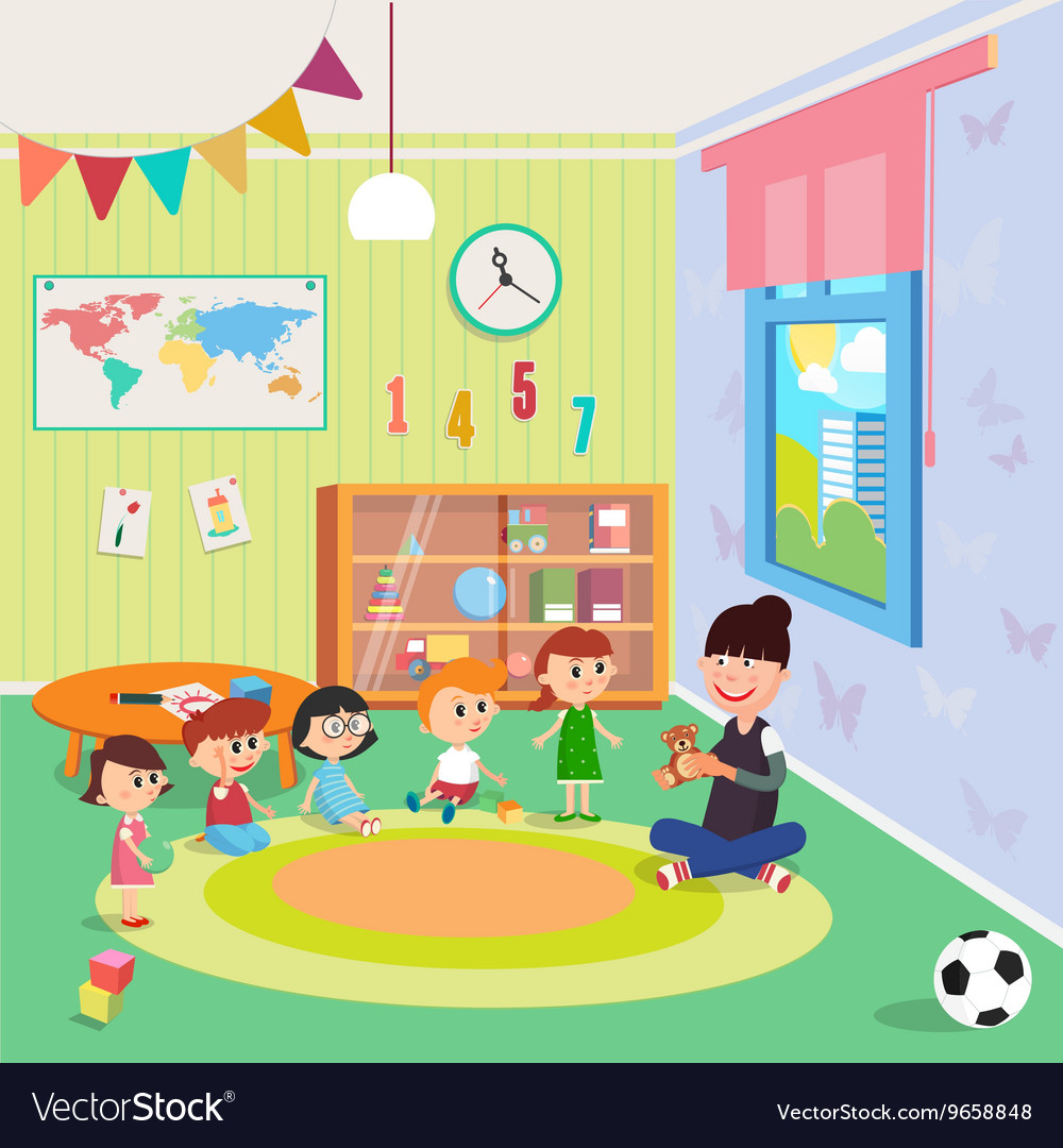 kindergarden interior girls and boys vector image - Kinder Garden