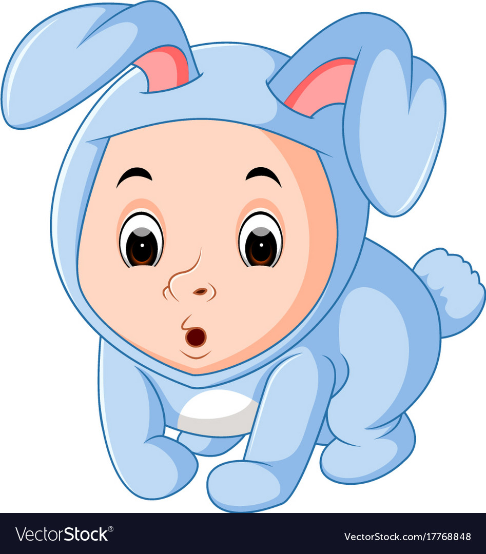 Little Funny Baby Wearing Rabbit Suit Royalty Free Vector