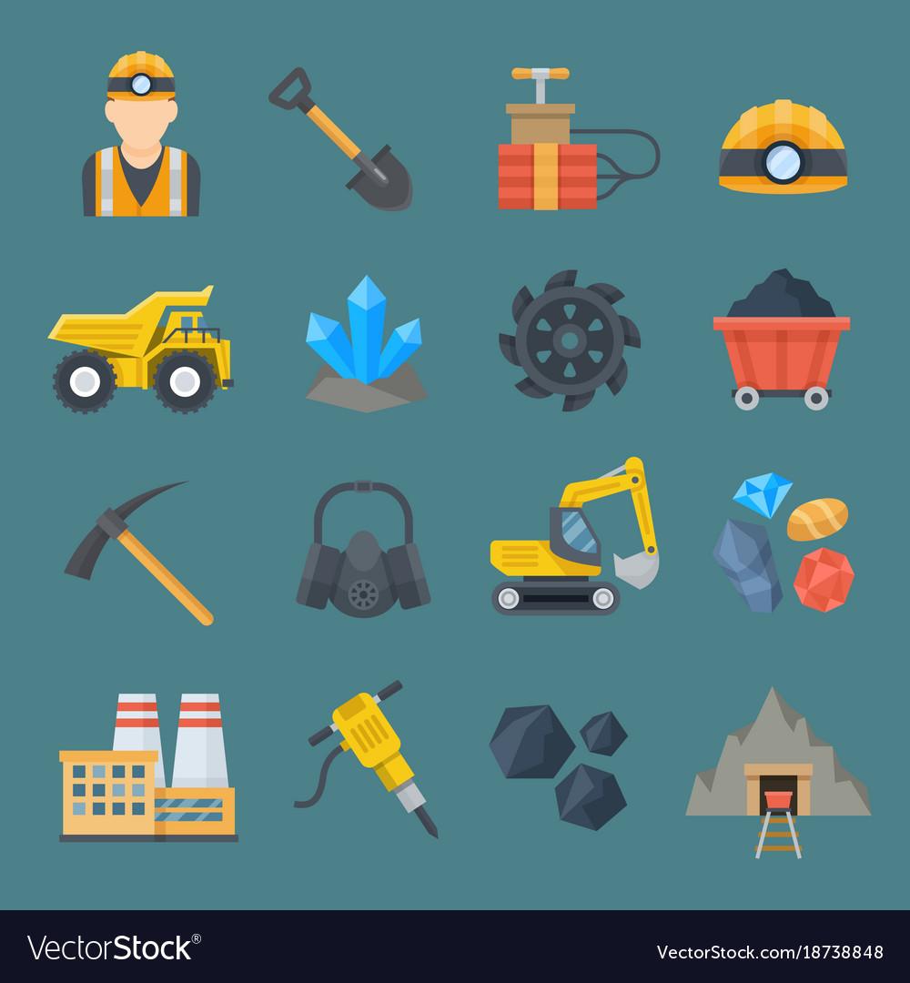 Minig industry flat icon set vector image