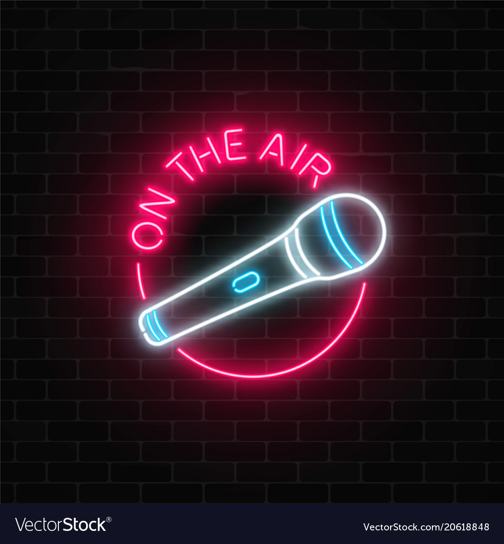 neon on the air sign with microphone in round vector image