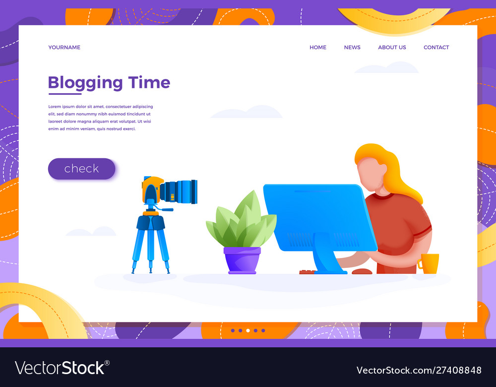 Online blogging concept girl with camera