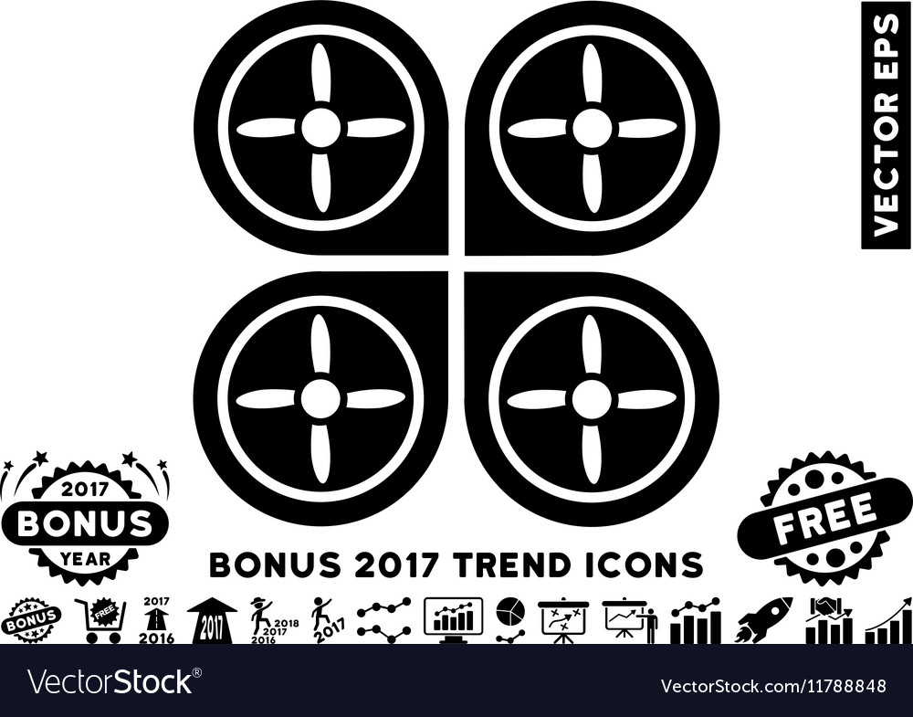 Quadrocopter Flat Icon With 2017 Bonus Trend vector image