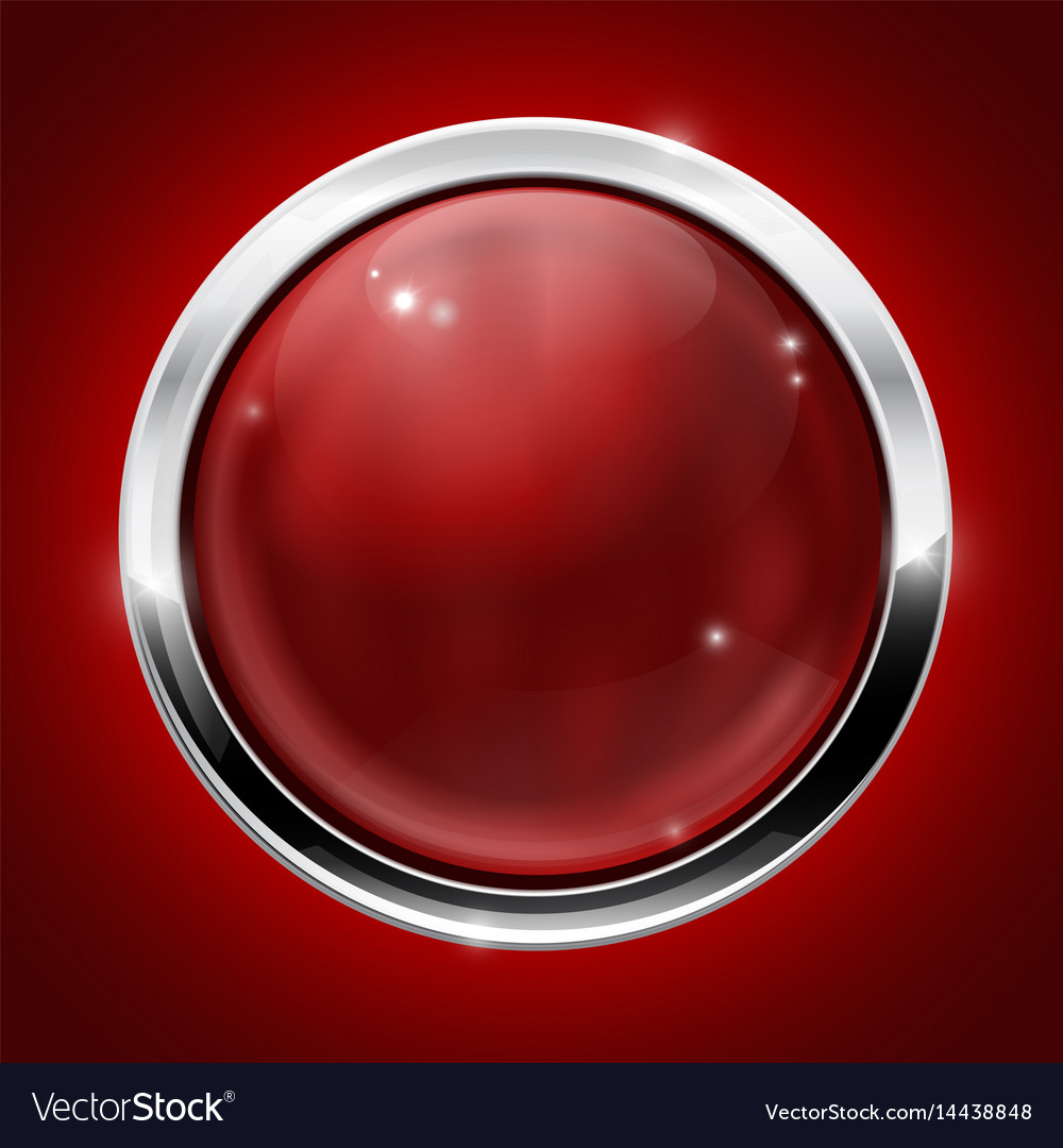 Red button with metal chrome frame on red vector image