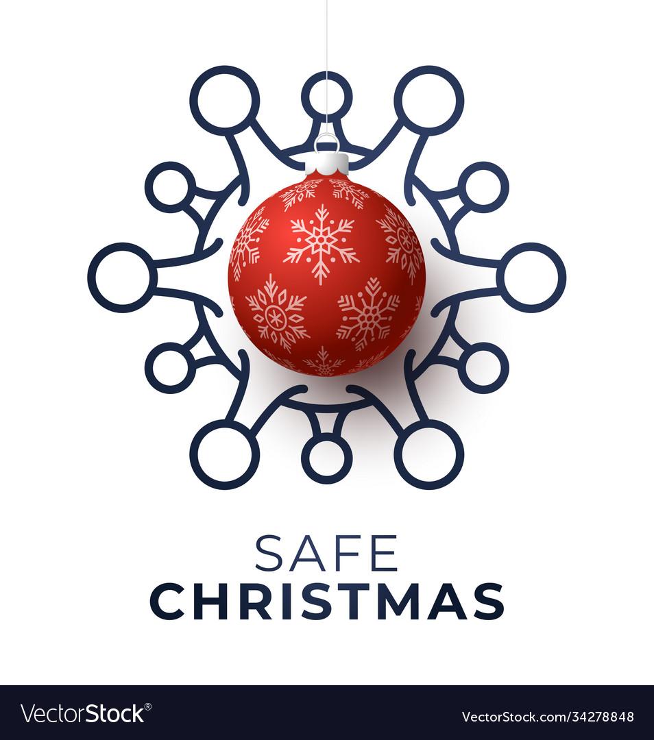 Red christmas ball and quarantine coronavirus
