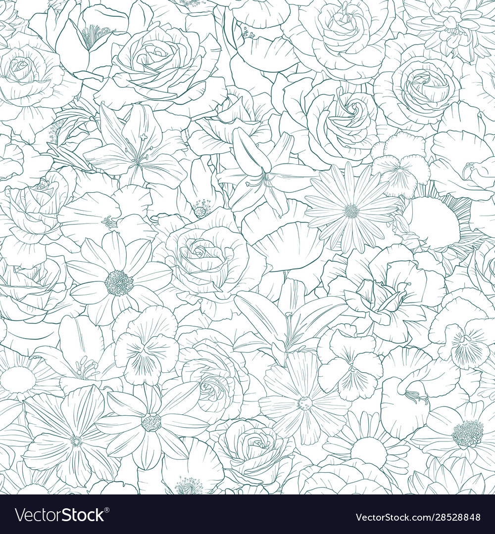Seamless pattern with drawing flowers