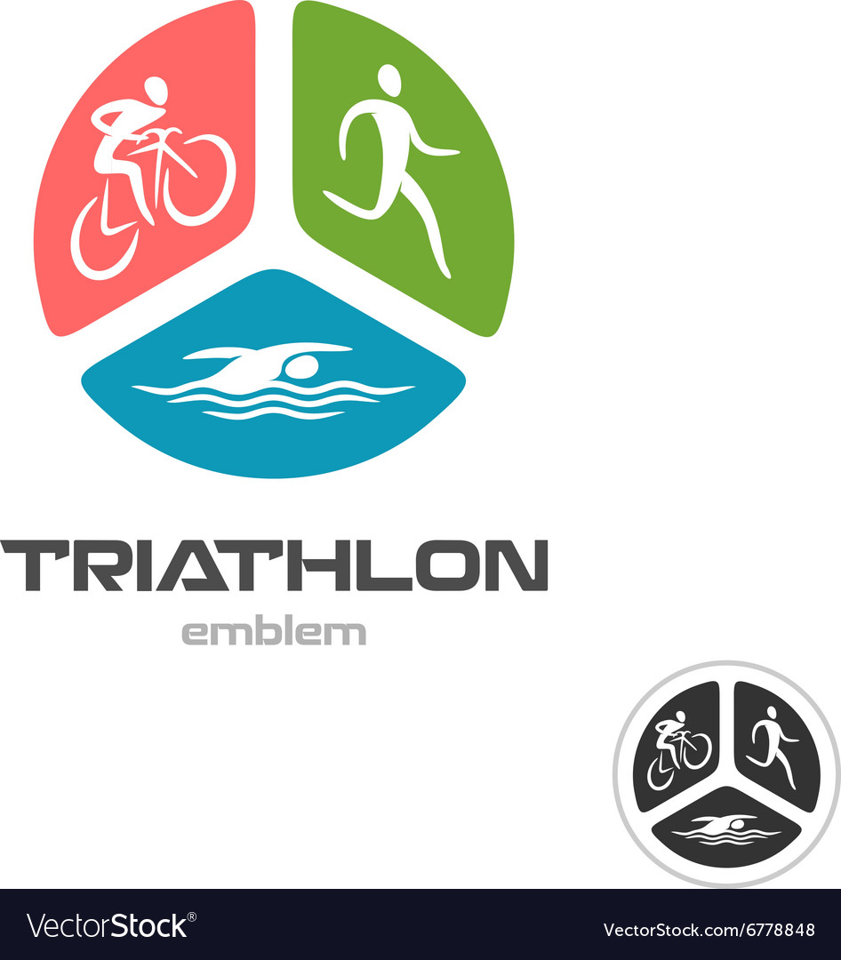 triathlon sport logo cyclist running and swimming vector image rh vectorstock com triathlon logos design triathlon log book