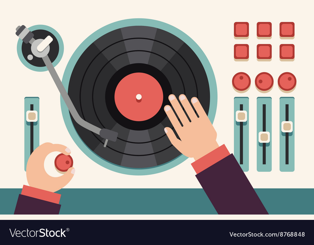 Turntable with dj hands Modern music flat