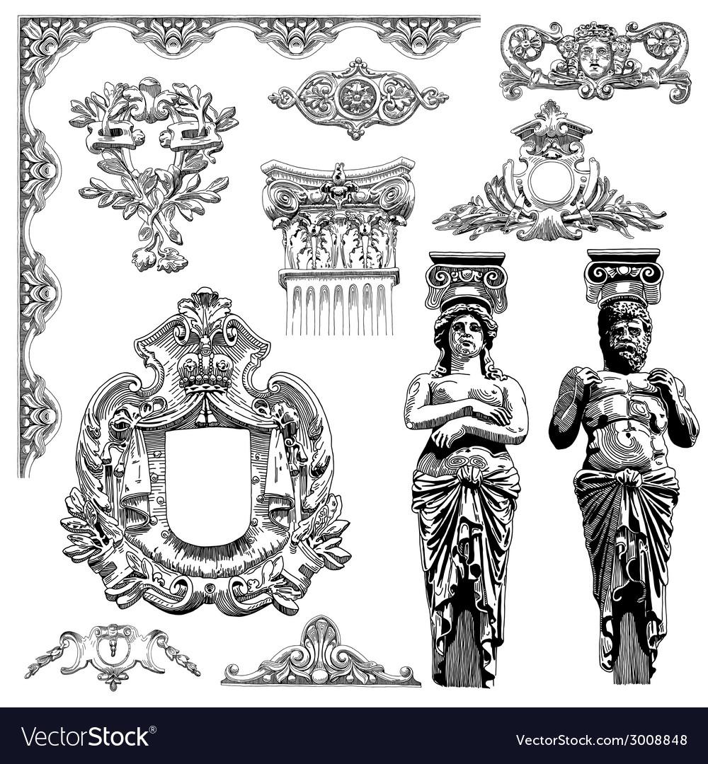 Vintage sketch calligraphic drawing of heraldic