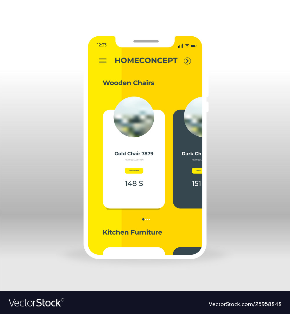 Yellow Home Concept Products Ui Ux Gui Screen For Vector Image