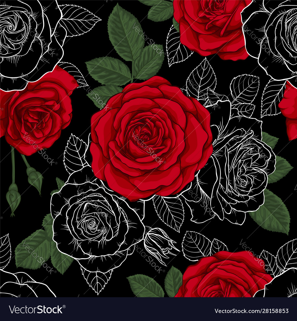 Beautiful vintage seamless pattern with red black