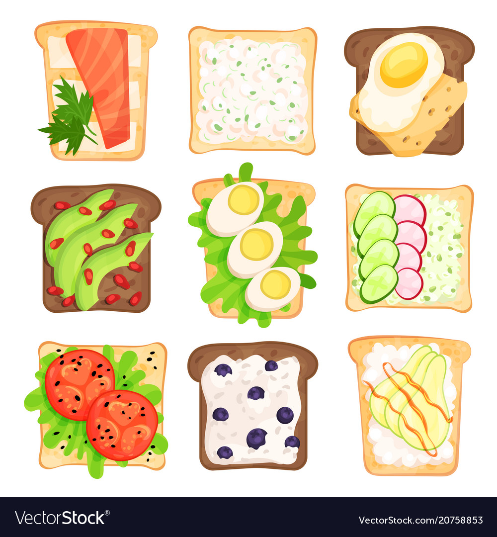 Flat set of toasted bread slices with