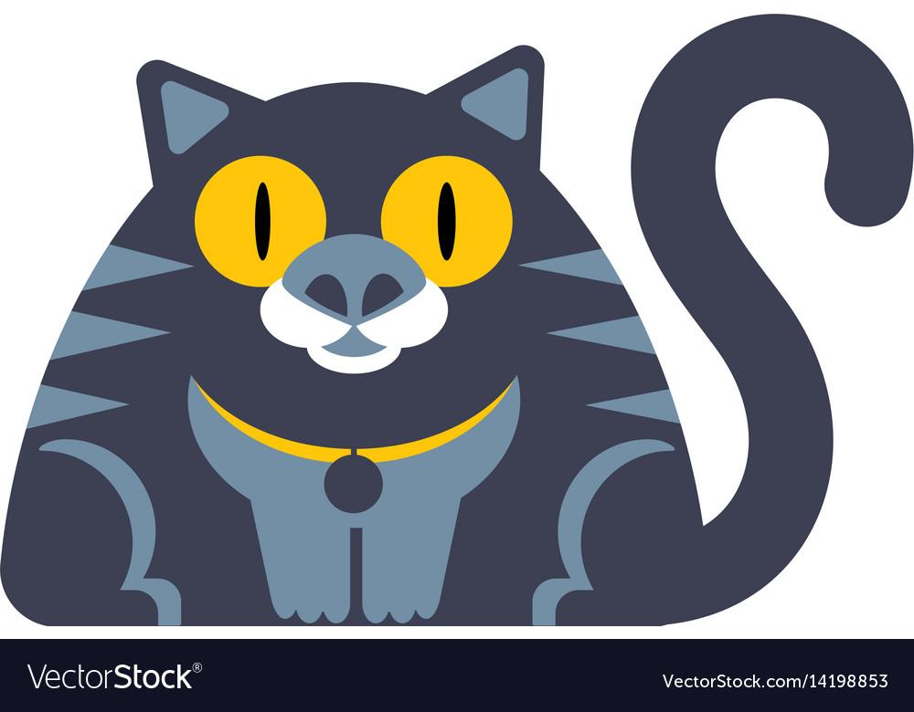 Flat style cat icon wirh big yellow eyes