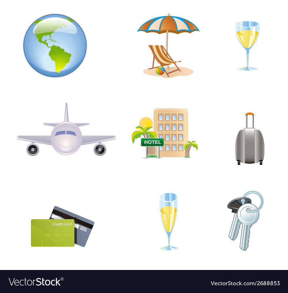 Icons Set of Traveling Tourism and Journey Object vector image
