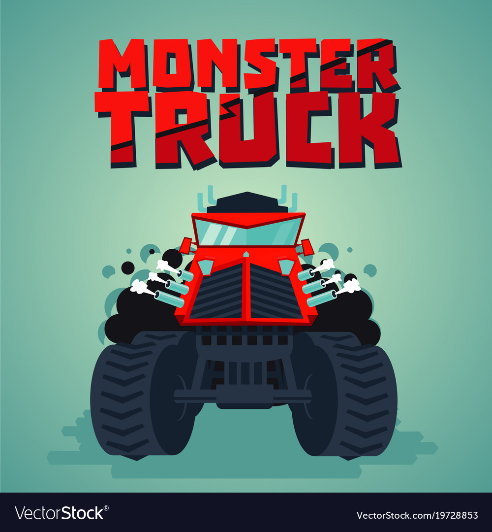Monster truck big car cartoon style isolated