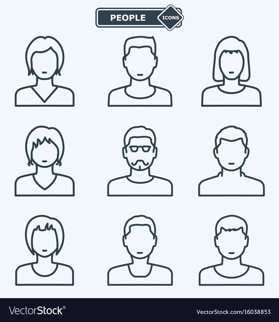 People icons linear flat style