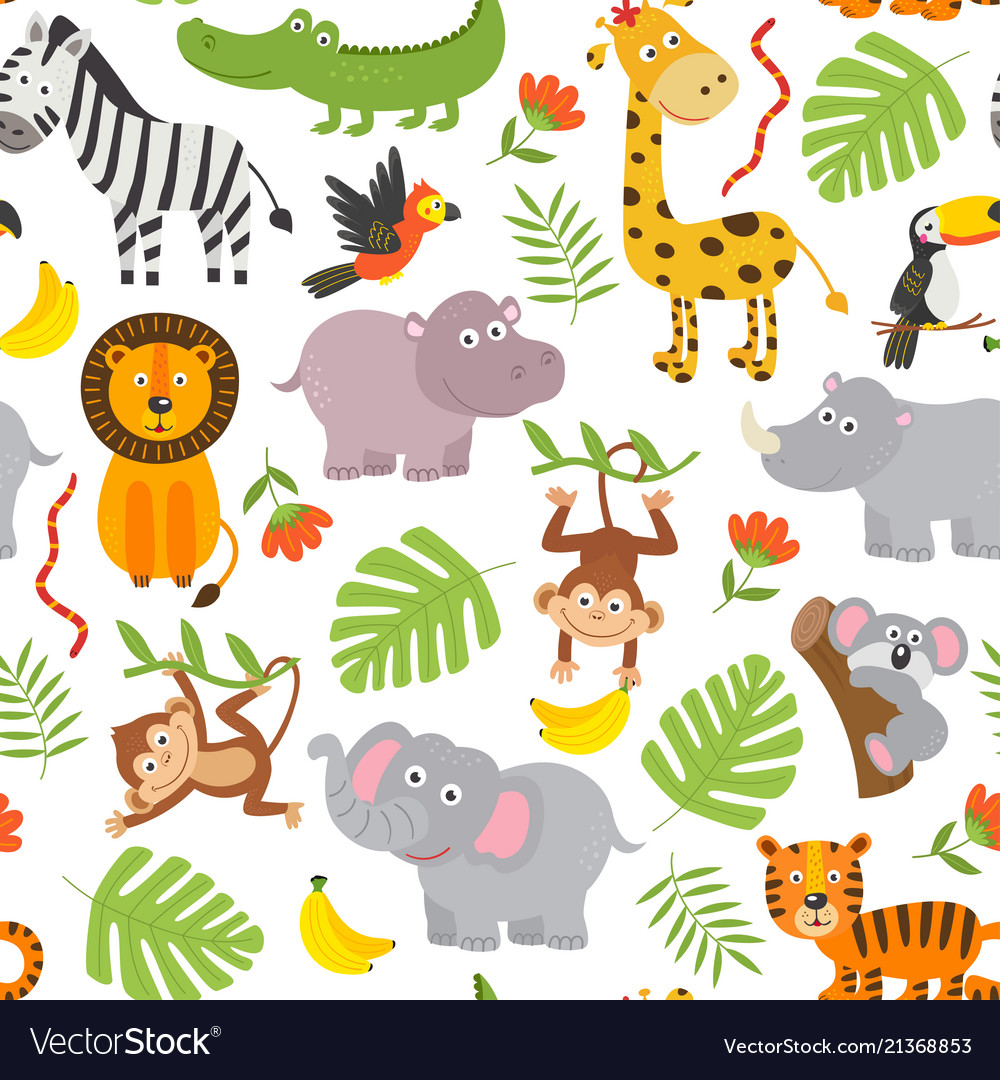 Seamless pattern jungle animals