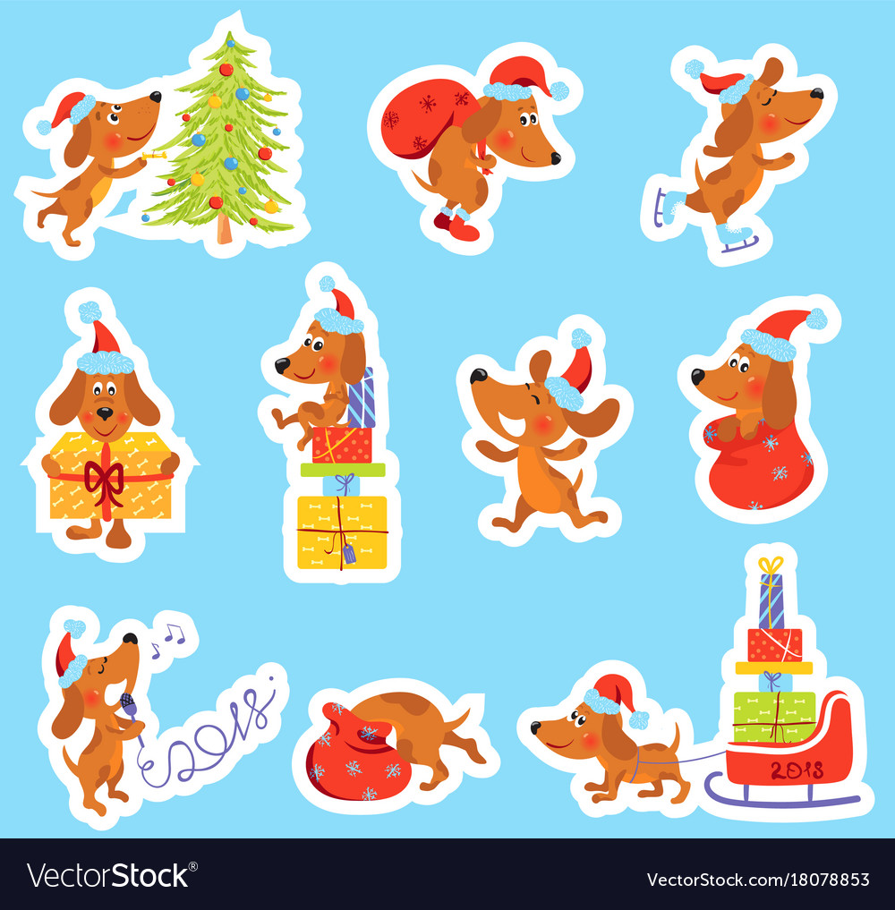 Set of christmas new year stickers with cute dog
