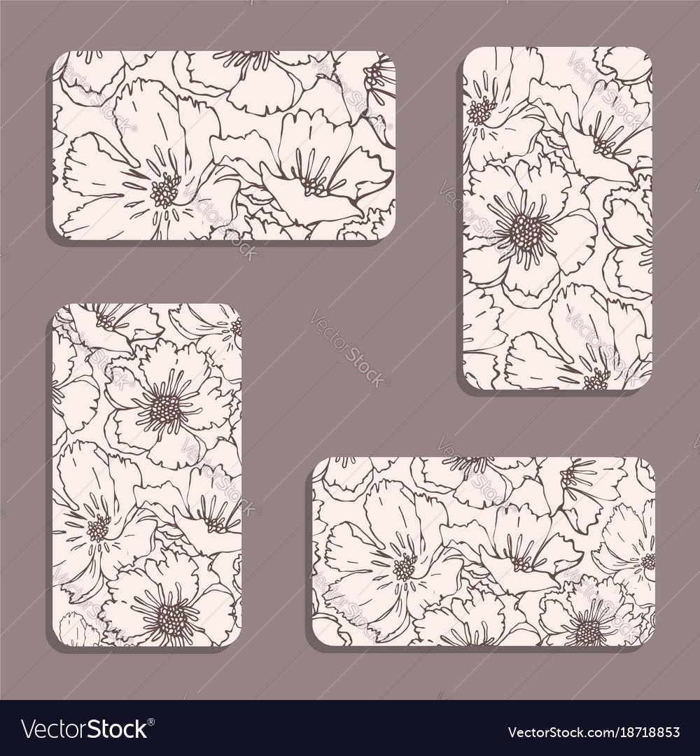 Vintage floral visiting card set