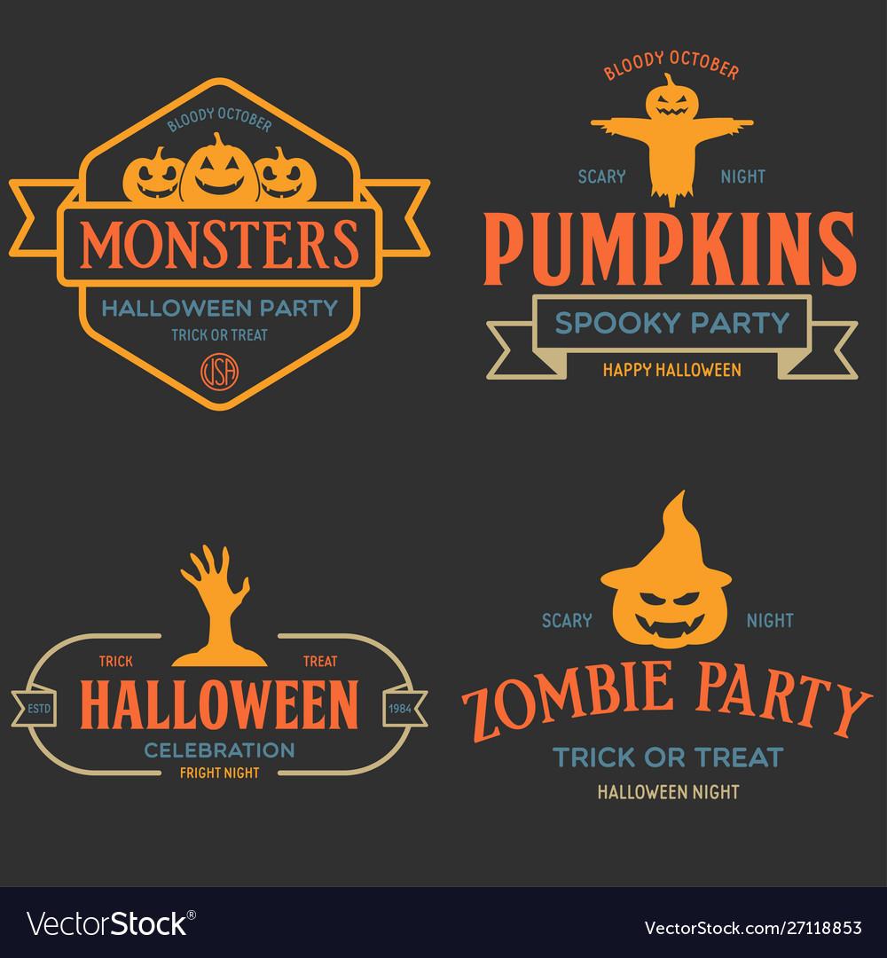 Vintage set happy halloween badges