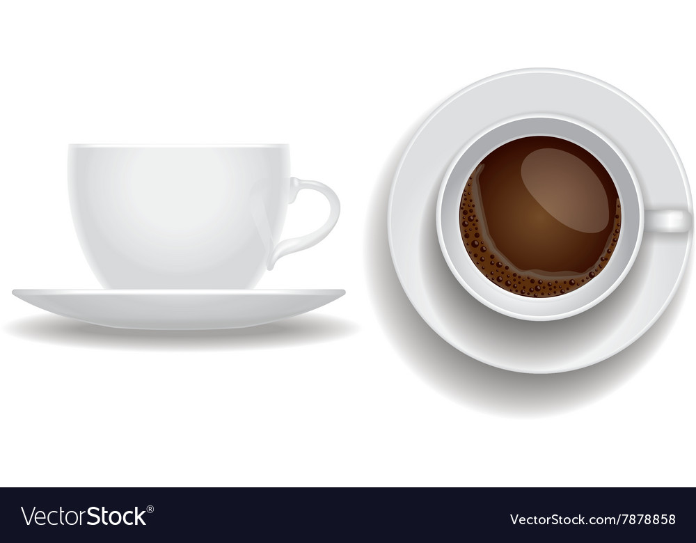 Coffee cup isolated Top and side view espresso