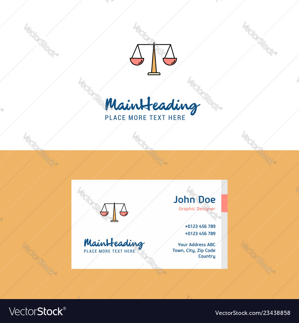 Flat justice logo and visiting card template