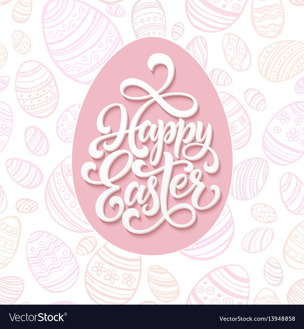 Happy easter lettering on pink seamless pattern