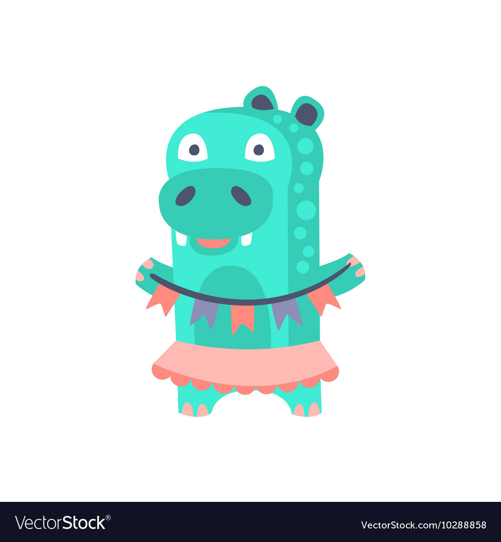 Hippo With Party Attributes Girly Stylized Funky vector image