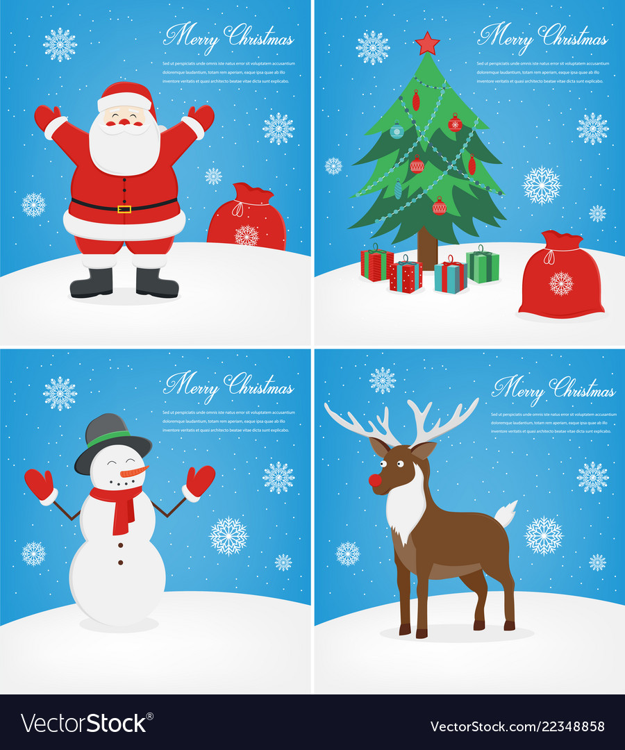 Merry christmas greeting cards set christmas Vector Image