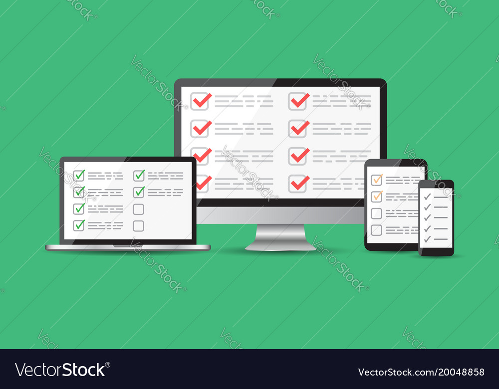 Online survey checklist set tablet computer vector image