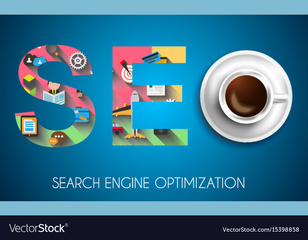 Seo search engine optimization concept with flat