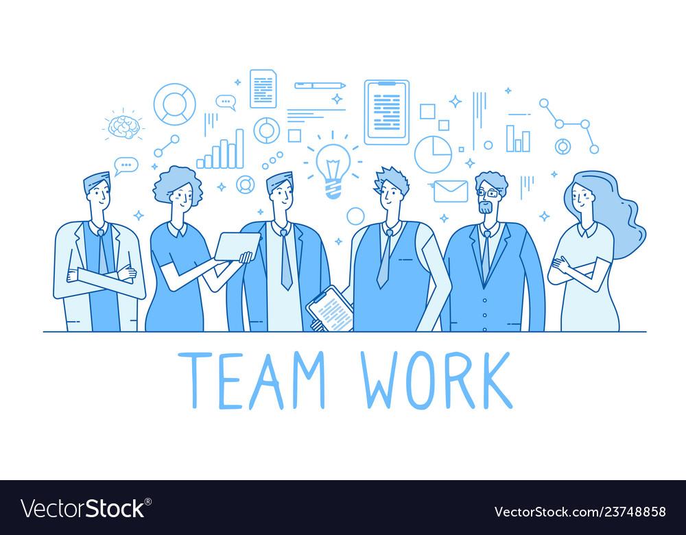Teamwork line concept creative business team