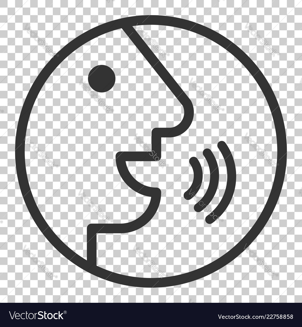 Voice command with sound waves icon in flat style