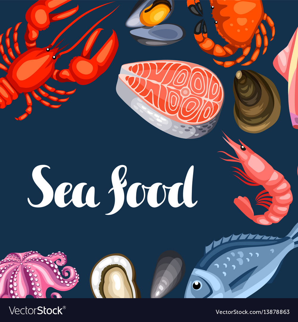 Background with various seafood of