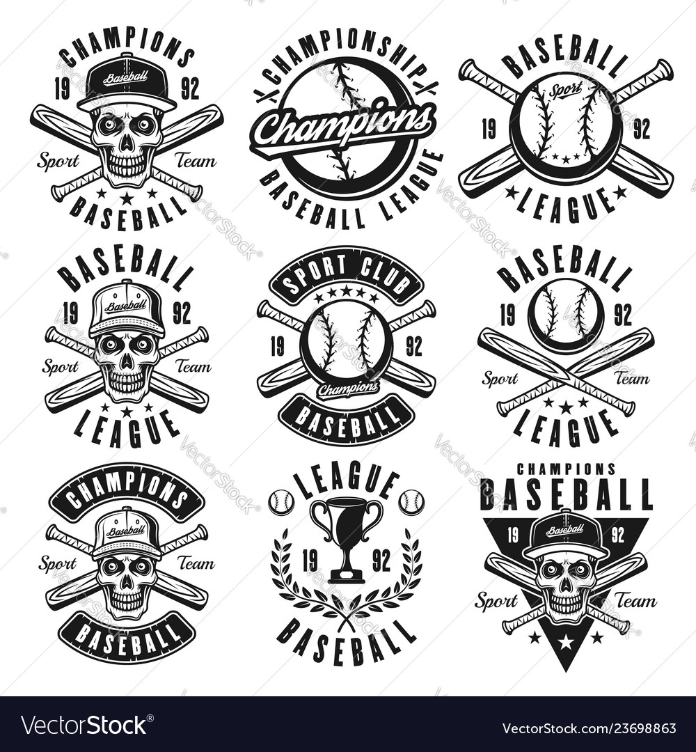 Baseball black emblems or t shirt prints