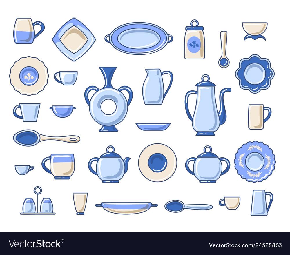 Ceramic crockery sketch icons set